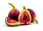 Fig isolated on white background, Fruits figs with fig leaves on white background.