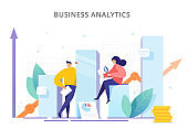 People are near the graphs and analyze company performance. Creative concept of strategy, successful result and profit growth. Business Analytics - vector illustration.