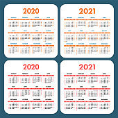 Calendar set 2020 and 2021. Square vector calender design template. English color collection. Week starts on Sunday. New year