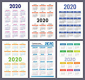 Calendar 2020. New year. Vector template collection. Colorful English pocket calender set. Week starts on Sunday