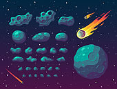 Set of cartoon fantasy asteroids and meteoroids.