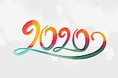 creative 2020 new year lettering stylish background design