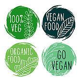 hand drawn organic vegan food labels and symbols