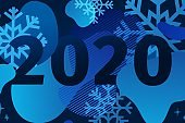 Neon Abstract geometric design for the happy new year 2020. Winter Holiday night banner with vector liquid form and snowflakes on dark background. Blue template graphic with fluid dynamic shape.