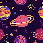 Seamless pattern with space elements. Cartoon style wallpaper with planets and cosmic star. Children's background with hand-drawn galaxy. Vector