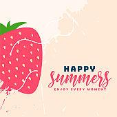happy summer strawberry fruit background