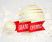 3d style grand open banner template with red ribbons