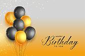 happy birthday gold and black celebration background design