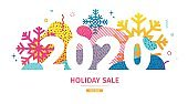 Abstract geometric design for the happy new year 2020. Christmas offer banner with vector liquid form and decor snowflakes and sparkles. Colorful creative template sale graphic  fluid dynamic shape.