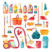 Household set and cleaning supplies icons. Cartoon vector illustration with cleaning products, household chemicals and  goods for home. Vector