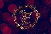 happy new year decorative bokeh style background design