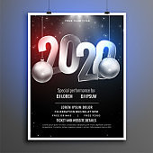 black and silver 2020 new year party flyer template design