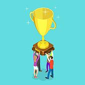 Flat isometric vector concept of winning team, effective teamwork.