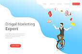Isometric flat vector landing page template of digital marketing expert.