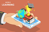 Flat isometric vector concept of mobile education, e-learning, webinar.