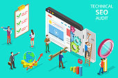 Isometric flat vector concept of technical SEO audit, search engine strategy.