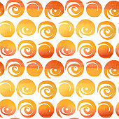 Seamless pattern Watercolor painted collection of Polka Dot orange colors. Hand drawn Fabric autumn halloween texture on white background.