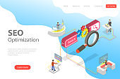 Flat isometric vector landing page template of search engine ranking.