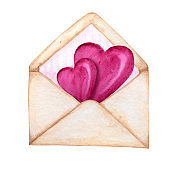 Postal envelope for Valentine day with Hearts Flying Away. Greeting card concept. Pink stripe inside, beautiful romantic retro style. Hand drawn watercolor isolated on white background illustration.