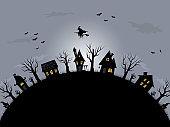 Halloween background. Spooky village