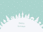Christmas background. Winter village. Greeting card
