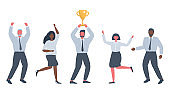 Office workers are celebrating the victory. One of the employees holds the winner's golden cup