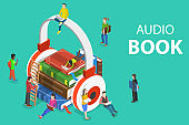 Isometric flat vector concept of audio book, education.