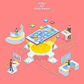 Flat isometric vector concept of mobile app development, programming.