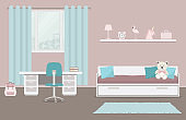 Children's room in a pink and blue color