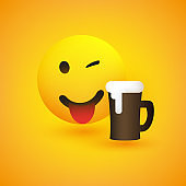 Smiling Emoji with Beer Glass