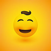 Smiling Emoji with Curly Hair