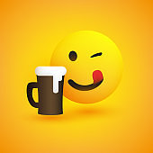 Smiling, Mouth Licking Emoji with Beer Glass