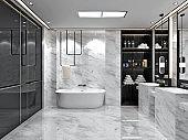 3d render. Modern bathroom interior.