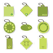 Green Eco Price Tags Clip-Art