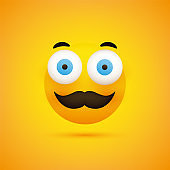 Emoticon with Wide Open Eyes and Mustache