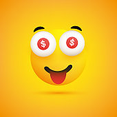 Smiling Emoji with Bitcoin Signs in the Eyes