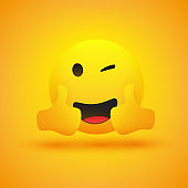 Smiling Emoji with Winking Eyes and Thumbs Up