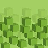 Green 3D Cubes Pattern