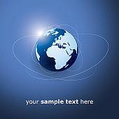 Earth Globe Design - Global Business, Technology, Globalization Concept