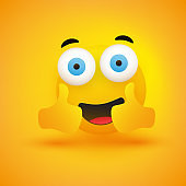 Smiling Emoji with Pop Out Eyes and Thumbs Up