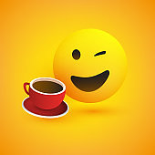 Smiling Emoji with Coffee Cup