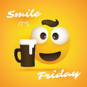 Smile! It's Friday - Weekend's Coming Concept with Smiley