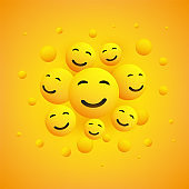 Group of Smiling Happy Emoticons