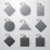 Black and White Price Tags Clip-Art