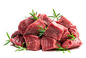 Sliced raw beef with rosemary herb isolated on white