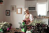 Senior Woman Taking Care of Plants
