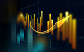 Financal Charts And Business Graphs on Global Stock Exchange Market Scene Against Dark Background