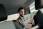 Businessman Holding Business Chart on the Back Seat of the Car