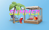 Summer Concept Texts on 3D Items Against Blue Background