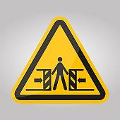 Beware Crushing Symbol Sign Isolate On White Background,Vector Illustration EPS.10